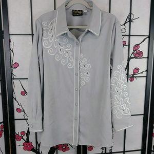 Bob Mackie Peacock Embellished Shirt Embroidered